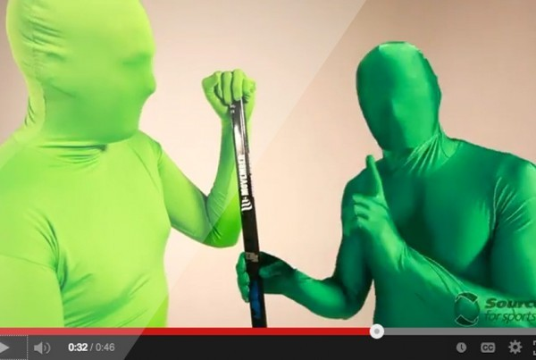 The Green Men introduce the new Sher-Wood Movember hockey stick