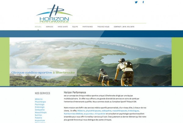 Clinique Horizon Performance | Projet site web